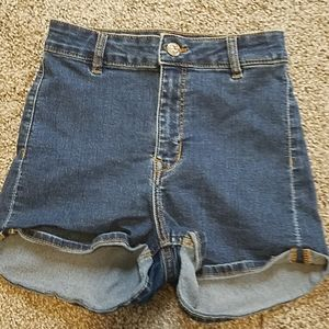 Divided High Waisted Jean Shorts